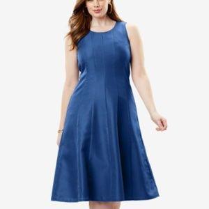 Roaman's RASPBERRY COLOR Fit & Flare Dress
